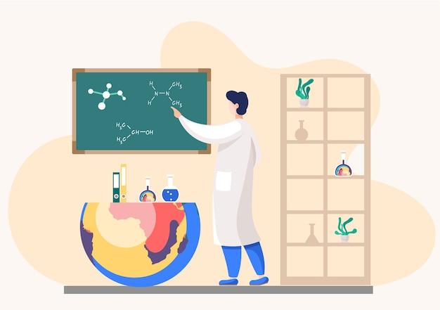 Cientista explica fórmulas no quadro