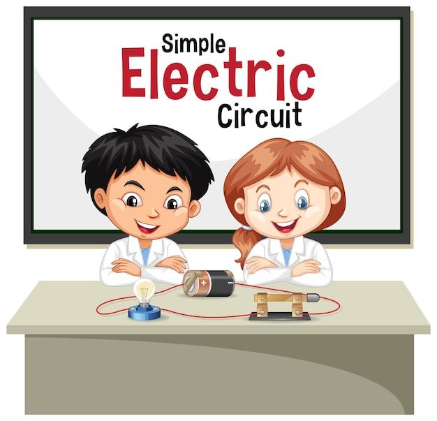 Cientista explicando circuito elétrico simples