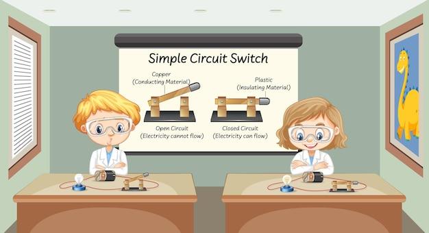 Cientista explicando interruptor de circuito simples