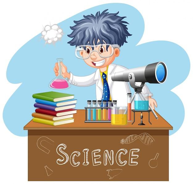 Cientista fazendo experimento no laboratório de ciências