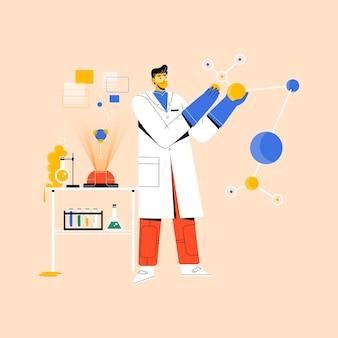Cientista fazendo pesquisas em laboratório com equipamentos de laboratório