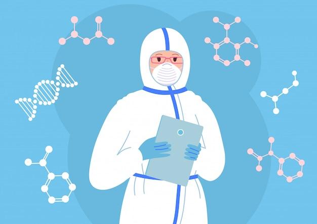 Cientista fêmea com tablet na máscara, traje de proteção branco. pesquisa de laboratório químico plana cartoon personagem mulheres. coronavírus da vacina descoberta. assistente de laboratório médico assistente. ilustração