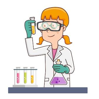Cientista fêmea no jaleco