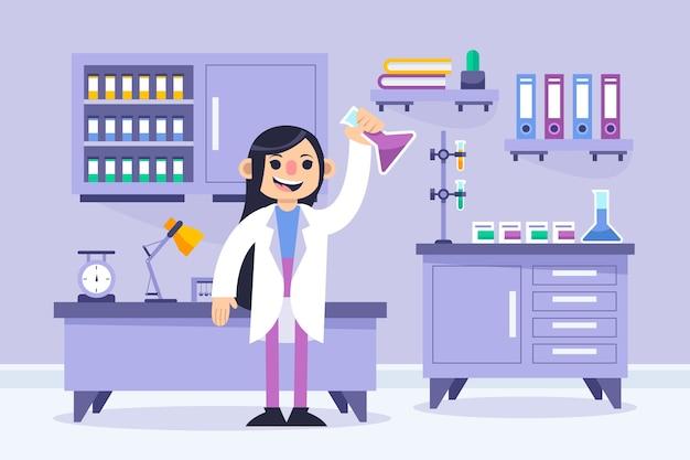Cientista fêmea que trabalha em um laboratório de ciências