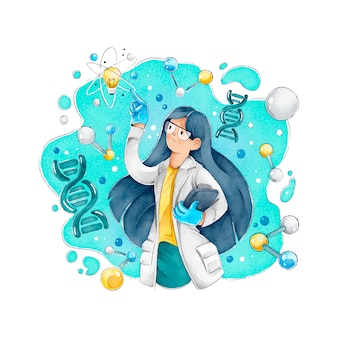 Cientista feminina com cabelos longos e óculos