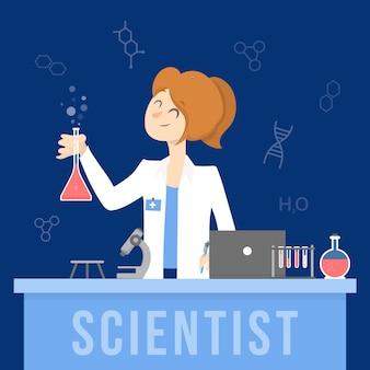 Cientista feminina no laboratório de química
