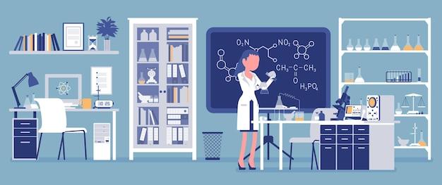 Cientista feminina trabalhando em laboratório. mulher de jaleco branco, investigadora científica faz pesquisas em ciências físicas naturais. conceito de educação e ciência. ilustração vetorial, personagens sem rosto