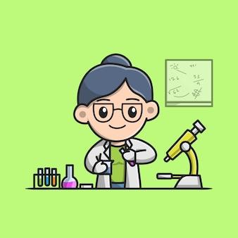 Cientista fofa fazendo experiências no desenho animado do laboratório