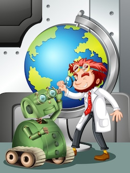 Cientista louco com robô e globo