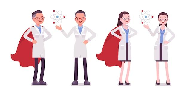 Cientista masculina e feminina com símbolos