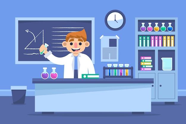 Cientista masculina que trabalha em um laboratório de ciências