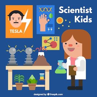 Cientista menina com experimentos científicos