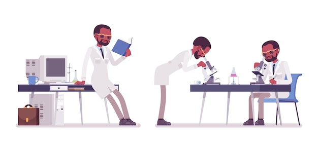 Cientista negro trabalhando