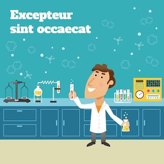 Cientista no laboratório de pesquisa de educação científica com frascos e ilustração em vetor cartaz equipamento laboratório