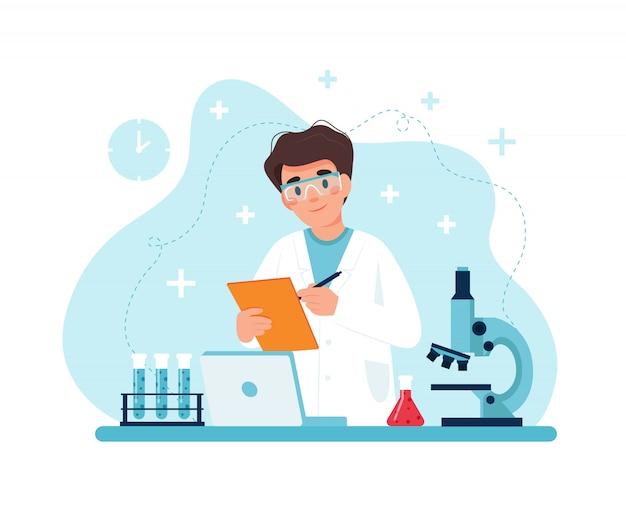 Cientista no trabalho, personagem masculina, conduzindo experimentos em laboratório.