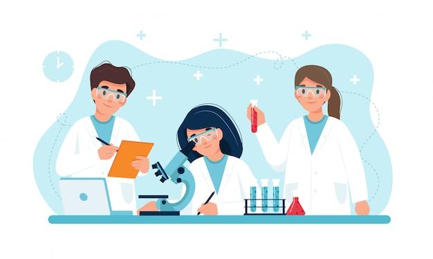Cientista no trabalho, personagens realizando experimentos em laboratório.