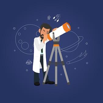 Cientista olhando através de um telescópio para as estrelas.