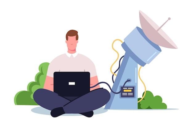 Cientista personagem masculino com laptop nas mãos, sentado na antena de satélite, monitorando dados da erupção do vulcão
