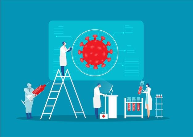 Cientista personagem pesquisa infecção em ilustração plana de laboratório