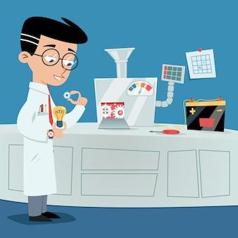 Cientista perto da máquina de ideias. conceito de brainstorming de vetor