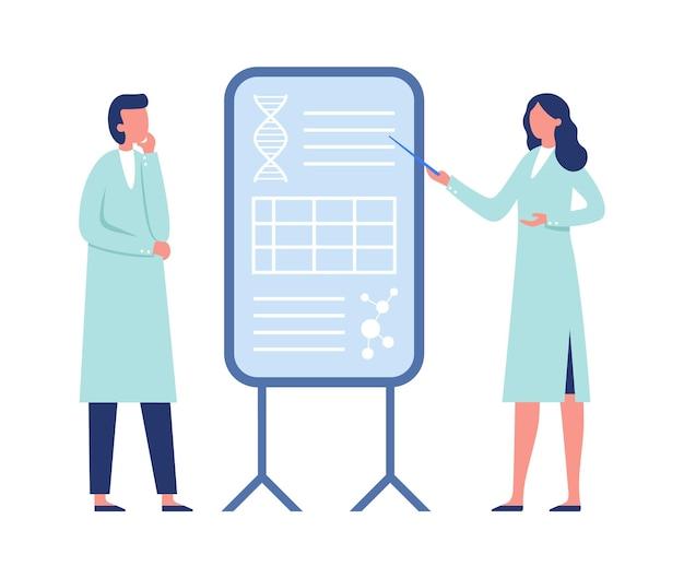 Cientista pesquisador trabalhando juntos. mulher de casaco, apontando para uma placa com código genético de dna, moléculas. homem ouvindo informações, ilustração vetorial de especialistas médicos de laboratório
