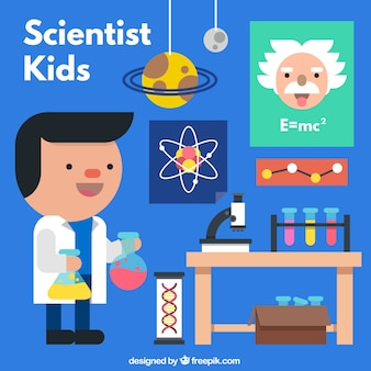 Cientista plano agradável em um laboratório