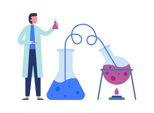 Cientista químico com equipamentos de laboratório científico fazendo experimentos. balão de aquecimento com líquido, transportador através do túbulo. trabalhador de laboratório de jaleco branco fazendo ilustração vetorial de pesquisa