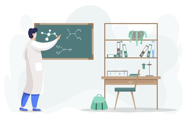 Cientista realizando pesquisa escrevendo elementos da fórmula molecular no quadro-negro