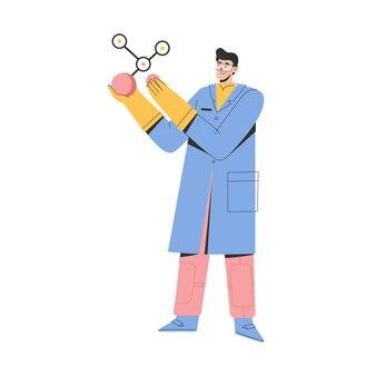 Cientista segurando um grande modelo de estrutura molecular