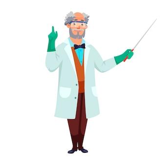 Cientista sênior usando luvas de óculos de proteção de jaleco branco, segurando as mãos de ponteiro em pé isolado.