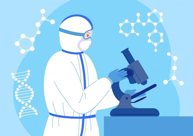 Cientista trabalha microscópio na máscara de traje de proteção. personagem de desenho animado plana de pesquisa de laboratório químico. vacina antiviral descoberta