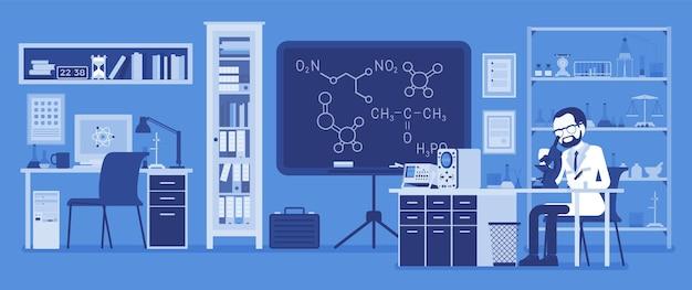 Cientista trabalhando em laboratório. homem de jaleco branco, investigador científico fazendo pesquisas em ciências físicas e naturais. conceito de educação e ciência.