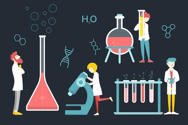 Cientista trabalhando ilustração conceito