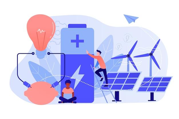 Cientistas com carregamento de limão, painéis solares, turbinas eólicas. tecnologia de bateria inovadora, criação de nova bateria, conceito de projeto de ciência da bateria