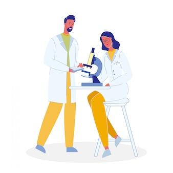 Cientistas com ilustração de desenhos animados de microscópio
