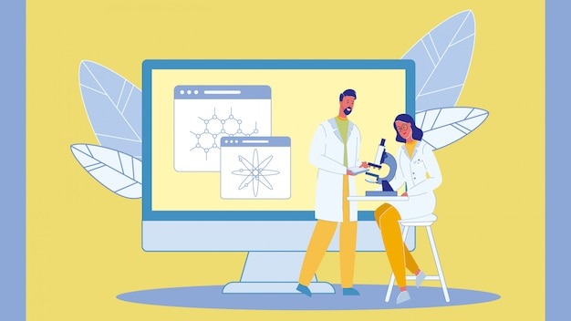 Cientistas com ilustração vetorial de microscópio