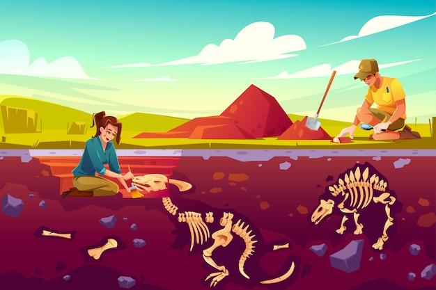 Cientistas de arqueologia trabalhando em escavações