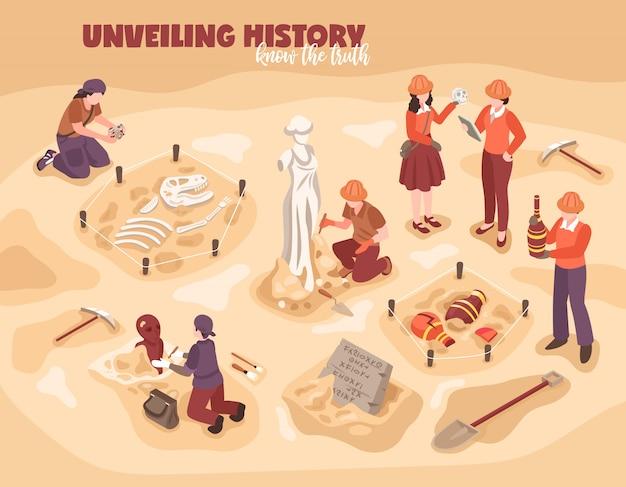 Cientistas de composição isométrica de arqueologia durante o trabalho com achados históricos ilustração em vetor esqueleto de dinossauro escultura antiga ânforas