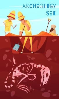 Cientistas de escavação arqueológica com ferramentas de trabalho durante escavações de ilustração de esqueleto de dinossauro