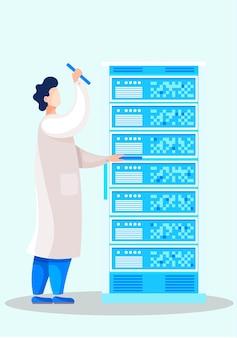 Cientistas de jaleco branco com ferramentas no interior do laboratório