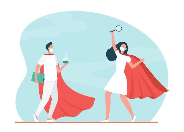 Cientistas de laboratório de super-heróis com máscaras fazendo pesquisas. ilustração de desenho animado