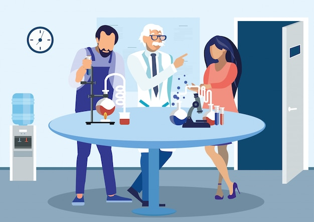 Cientistas discutindo experimento ilustração plana