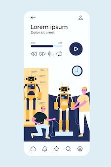 Cientistas e engenheiros criando e construindo robôs humanóides.
