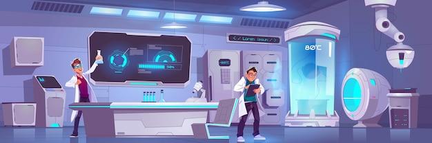 Cientistas em laboratório conduzem experimentos, pesquisa científica masculina em criônica ou laboratório químico