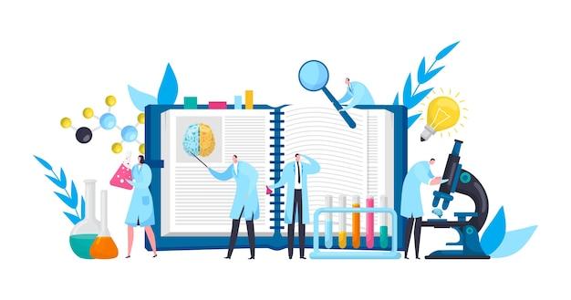 Cientistas em laboratório de descobertas com livro, microscópio e ciência experimental plana
