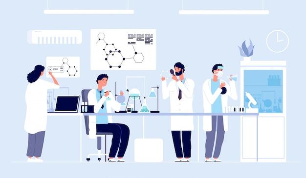 Cientistas em laboratório. pessoas de jaleco branco, pesquisadores químicos com equipamento de laboratório.