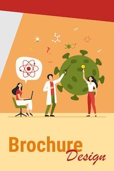 Cientistas estudando coronavírus. equipe de especialistas em ilustração vetorial plana de pesquisa médica. vírus, pandemia, conceito de ciência