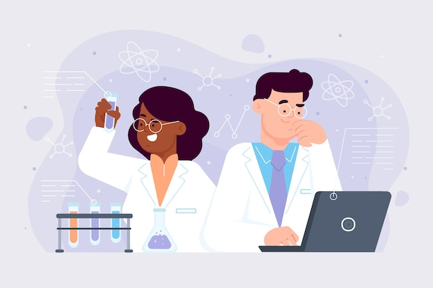 Cientistas femininos e masculinos trabalhando juntos