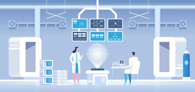 Cientistas homem e mulher realizando pesquisas em um laboratório