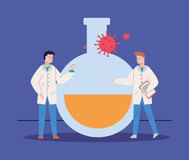 Cientistas masculinos com teste de tubo e vacina de pesquisa de partículas covid19
